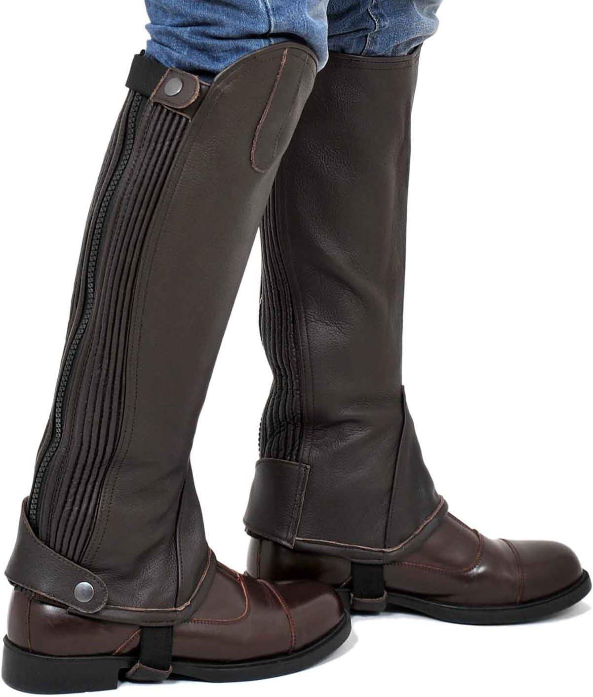 Riders Trend Damen Gamasche vollnarbigem Leder mit  Schokobraun//Beige S