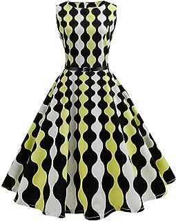 Women Summer Dress Audrey Hepburn Robe Swing Sleeveless O-Neck Swing Dresses