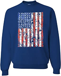 Distressed US Flag Crew Neck Sweatshirt American Flag