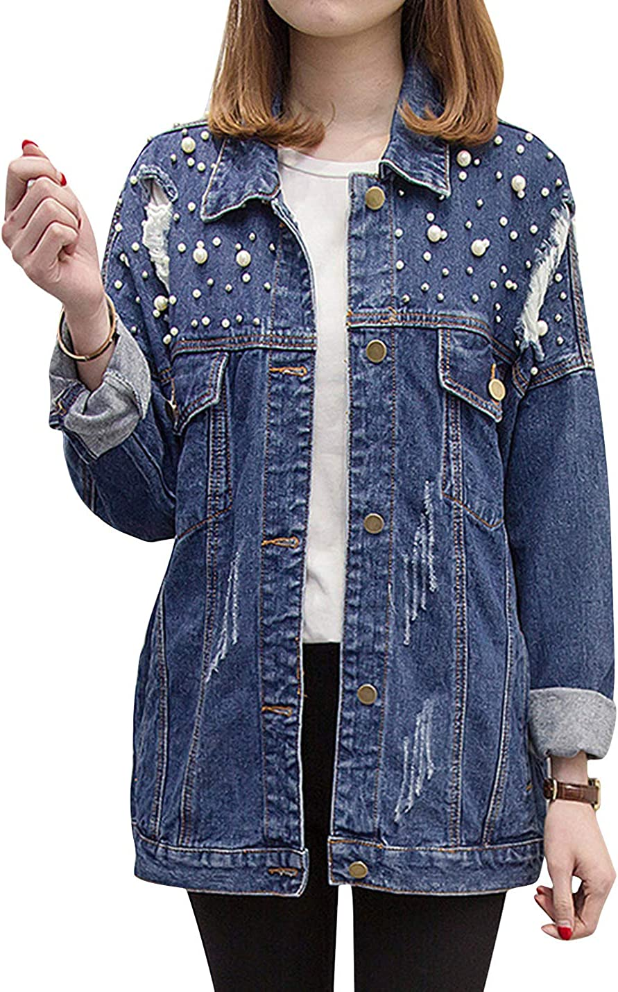 ZGZZ7 Women's Vintage Ripped Denim Jackets Buttons Beaded Pearls Casual Loose Fit Mid-Long Jean Coats