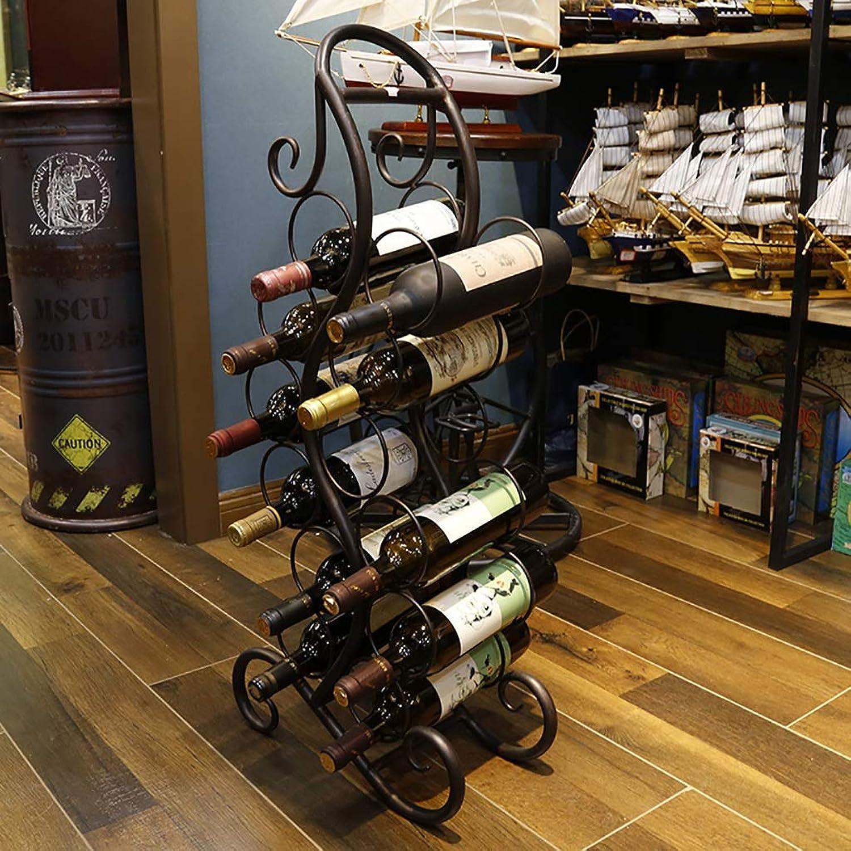 Red Wine Shelf Wine Rack LOFT Floor-Standing Metal Shelf 12 Bottles Household bar