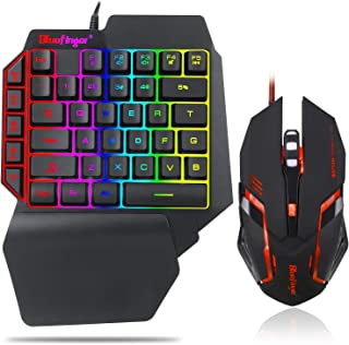 One Hand RGB Gaming Keyboard and Backlit Mouse Combo,USB Wired Rainbow Letters Glow Single Hand Mechanical Feeling Keyboard with Wrist Rest Support, Gaming Keyboard Set for Game