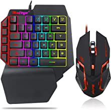 One Hand RGB Gaming Keyboard and Backlit Mouse Combo,USB Wir