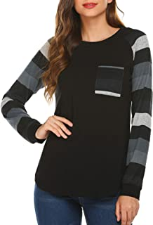 Chigant Womens Tops Long Sleeve Tunics Shirt Round Neck Color Block Casual Blouses and Tops with Pocket