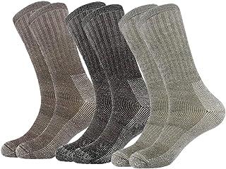 Calcetines de 80% lana Merino altos hombre Blend Crew Calcetines calefactables de media pantorrilla térmica 3PR
