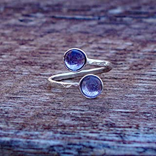 Recycled Early 1900's Purple Medicine Bottle Hammered Sterling Silver Bypass Ring