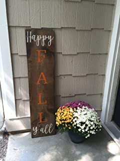 Reversible - Happy Fall Y'all - Happy Fall Sign - Happy Fall Distressed Sign - Large Porch Sign - Halloween Decor - Fall Decor