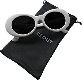 895ac24866adf Clout Goggles and Clout Case HypeBeast Oval Sunglasses Mod Style Kurt Cobain  (White)