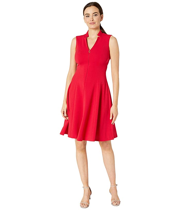 Line Dress w/ CK Logo Zipper Front (Red) Women's Dress