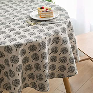 Lahome Rustic Tree Pattern Round Tablecloth - Cotton Linen Washable Table Cover Kitchen Dining Room Restaurant Party Decoration (Beige, Round - 60