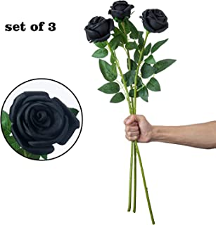 VILIVIT 30 in. H Elegant Dark Giant Rose Spray Artificial Flowers – Eye-Catching Large Black Rose Vibrant Bloom Plant Decor – Artificial Rosebud with Cylinder Flower Arrangement (Set of 3)