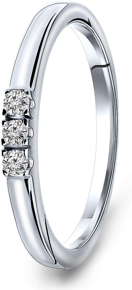 Miore, anello trilogy da donna, in oro bianco 9 carati 375 (2.4 grammi) con diamanti da 0,09 kt, M9188R50