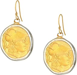 Rhodium/Satin Gold Coin Fishhook Earrings