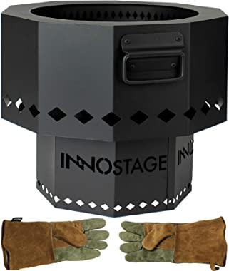 INNO STAGE Patented Smokeless Fire Bowl Pit for Outdoor Wood Pellet Burning Spark, Firepit Grill of Fireplace Stove for Picni