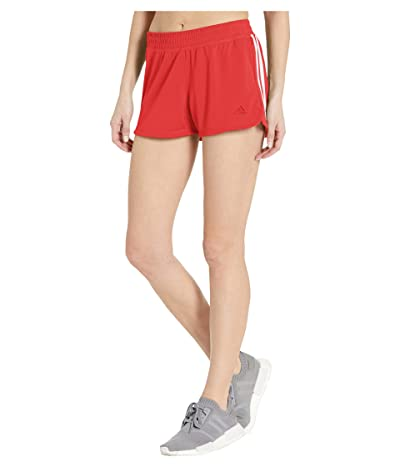 adidas Pacer 3 Stripe Knit Shorts (Glory Red/White) Women