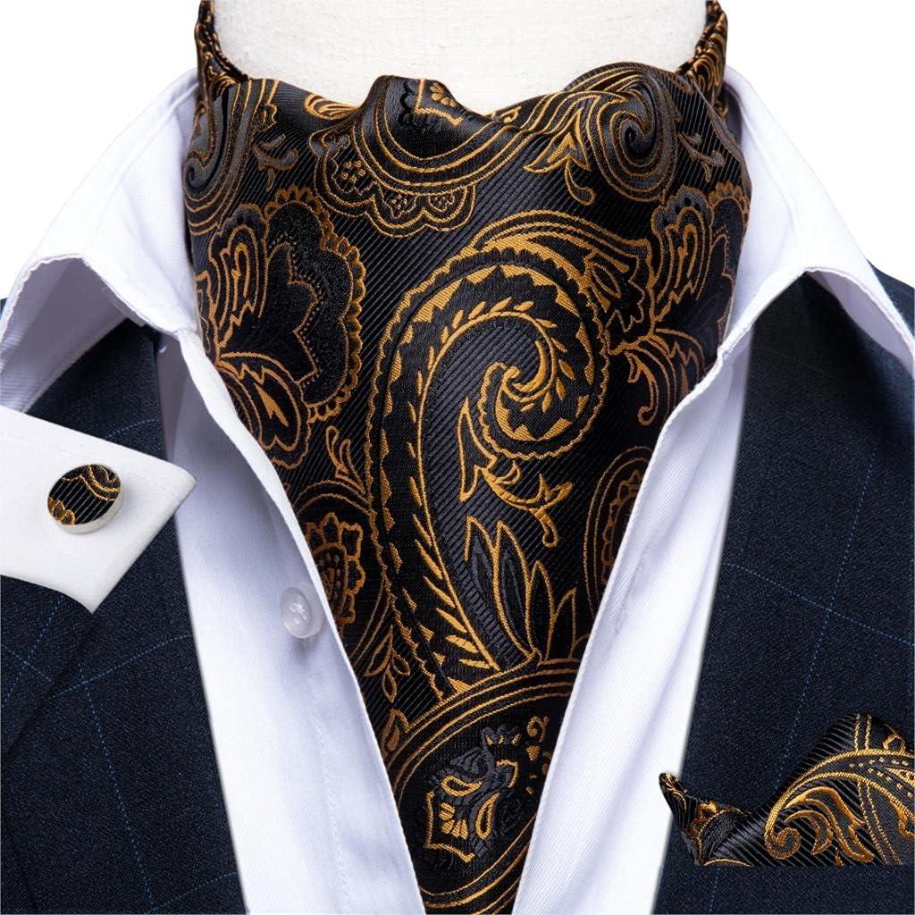 KLHHG Men Vintage Floral Gold Black Wedding Formal Cravat British Style Silk Neck Tie (Color : A, Size : One size)