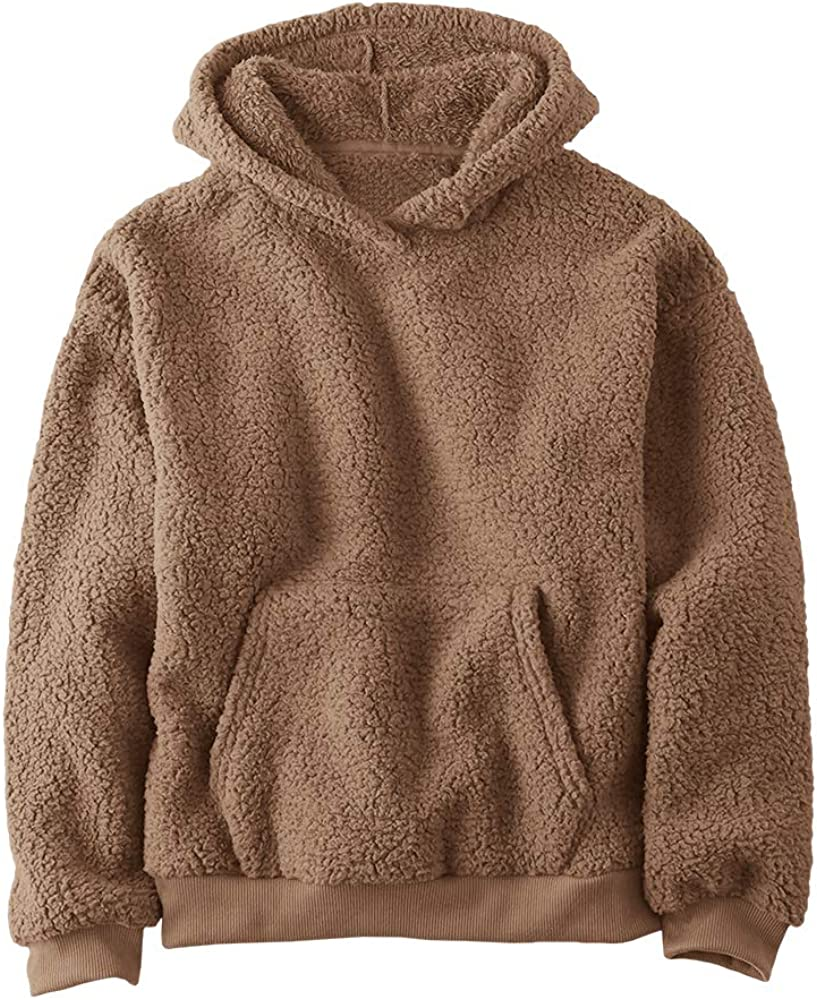 Bbalizko Baby Boys Girls Fuzzy Sherpa Hoodie Pullover Sweatshirt Kids Sports Tops with Pockets Fall Winter Outdoor Outfits