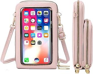 Handy Umhängetasche Damen Touchscreen Handytasche Kleine Crossbody Schultertasche Brieftasche Handtasche, 2 Reißverschluss...