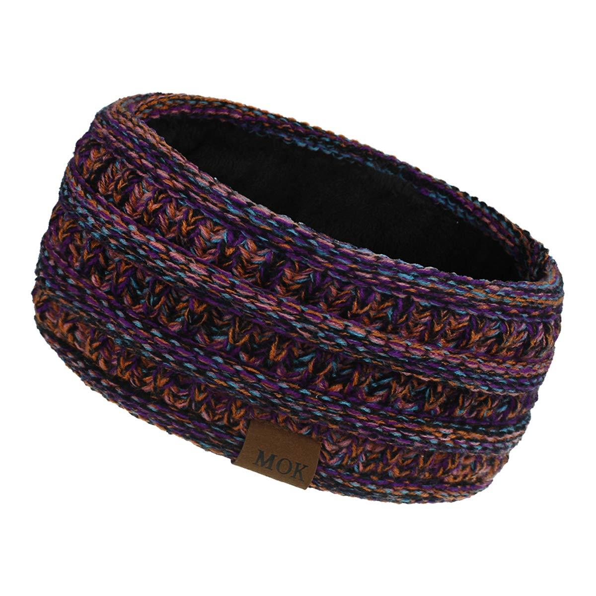 DaMohony Women Knit Fleece Lined Headband, Warm Winter Ear Warmer Headband