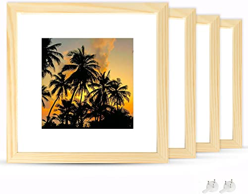 discount netuera 8x8 Picture Frames 4x4 5x5 with Mat and 8x8 without Mat for Wall outlet online sale Mounting and Table sale Top Set of 4 sale