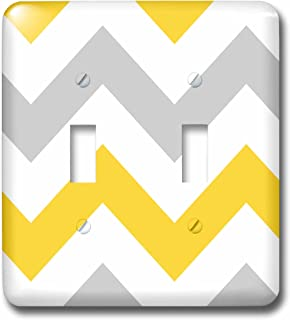 3dRose lsp_179796_2 Big Yellow and Gray Chevron Zig Zag Pattern Grey White Zigzag Stripes Light Switch Cover