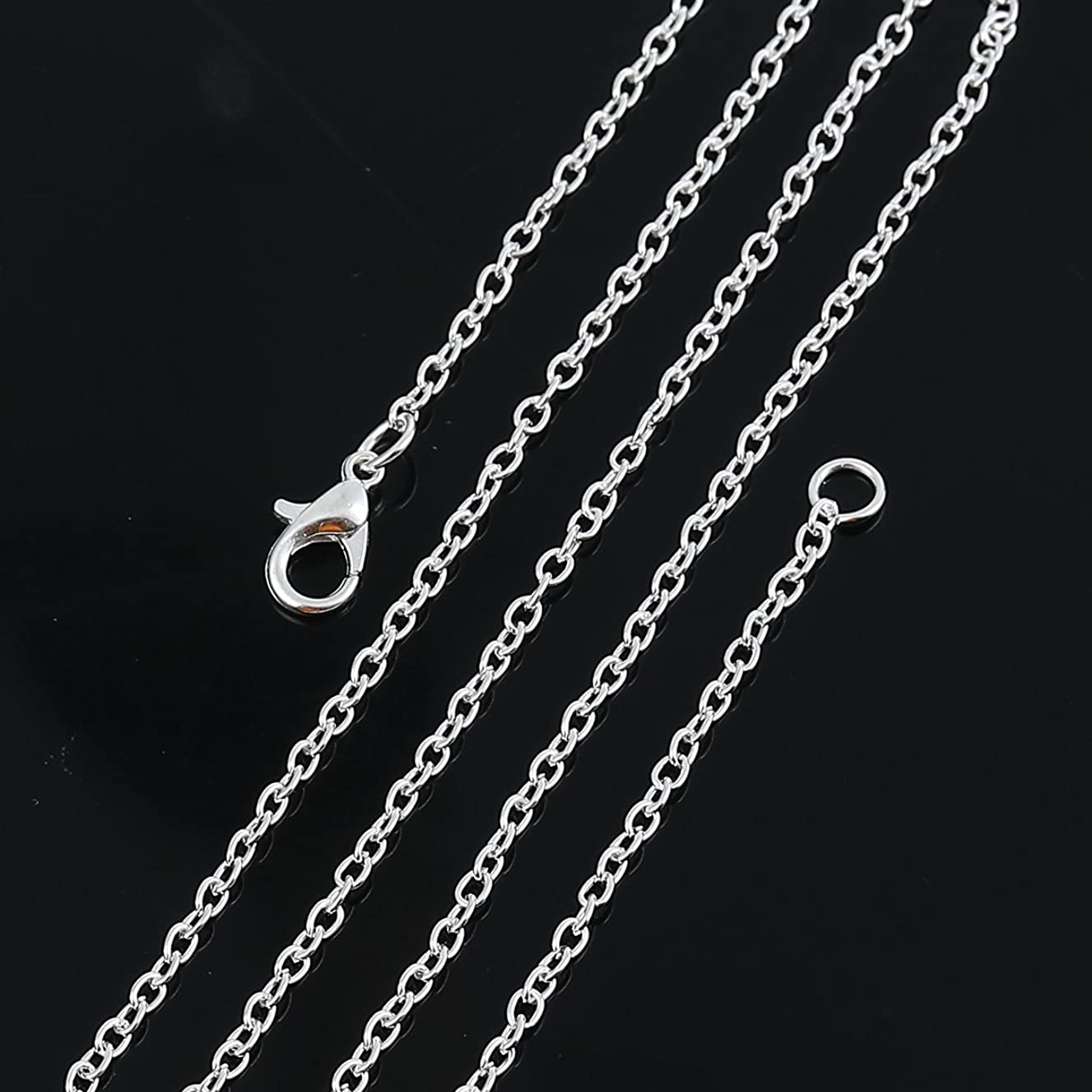 Silver Tone Cable Link Chain, Wholesale 12 Pieces and 17 7/8 Inches Long (3 x 2.2mm)