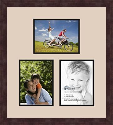 Art to Frames Double-Multimat-601-693//89-FRBW26061 Collage Frame Photo Mat Double Mat with 3-8x10 Openings and Espresso Frame