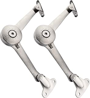 Douper Lid Support Hinge in Satin Nickel Lid Stay with Soft Close Toy Box Hinge Support Drop Lids of Cabinets Cupboard Wardrobe Max Weight Support 40lb/2pcs (2 Pack)