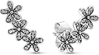 Pandora Jewelry - Daisy Flower Stud Earrings in Sterling Silver with Clear Cubic Zirconia