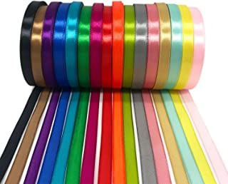 JmYo Satin Ribbons Rolls, 16 Colors Double Side Silk Stain Ribbon Bows in 2/5
