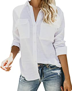 Runcati Womens Button Down V Neck Shirts Long Sleeve Blouse Roll Up Cuffed Sleeve Casual Work Plain Tops with Pockets