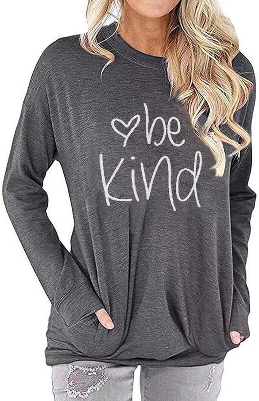Sixmomy Womens Be Kind Tunic Tank Tops Cute Graphic Funny Shirts Rainbow Casual Tee Sweatshirt