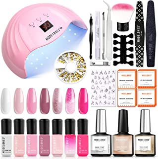 Gel Nail Polish Kit with UV Light Starter Kit Modelones Gel Polish Set- 7 Colors with 10ml Nail Primer and Base Top Coat, 48W Nail Lamp with Upgraded Manicure Tools