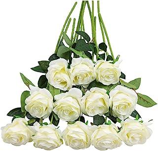 Tifuly Lot de 12 Roses Artificielles, Deco Fausses Fleurs en Soie avec Tige Simple de 19,68 pouces, Fleur Réaliste pour Fê...
