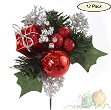 Larksilk Evergreen Pine and Holly Berry Pick with Ball, Red Berries, Frosted Silver Leaf, Decorative Gift Box, Christmas Tree and Wreath Ornament, Winter, Xmas Holiday Décor, Red, 12-Pack
