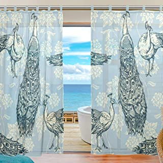 ATONO Vintage Antique White Peacocks Blue Sheer Veil Window Curtains Panels Polyester [2 Panels, 55''X78''] Light Reducing Thermal for Kitchen, Bedroom and Living Room