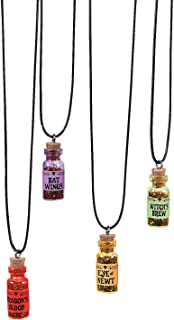 Halloween Witch Potion Necklaces (Set of 12) Dragon Blood, Bats Wings, Witches Brew and More