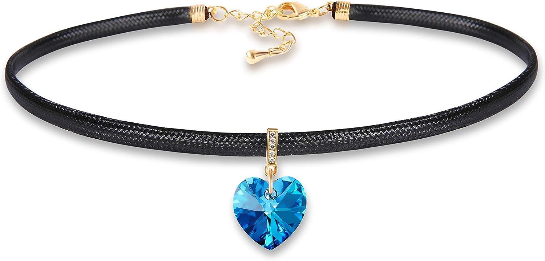 Zealmer Chic Swarovski Crystal Gothic Heart Choker Necklace