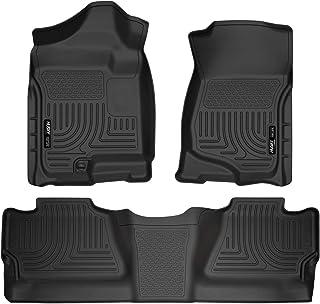 Husky Liners 98201 Black Weatherbeater Front & 2nd Seat Floor Liners Fits 2008-2013 Chevrolet-GMC Silverado/Sierra 1500 Cr...