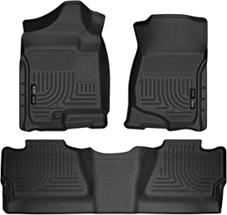Husky Liners Fits 2007-13 Chevrolet Silverado/GMC Sierra 1500 Crew Cab, 2007-14 Chevrolet Silverado/GMC Sierra 2500/3500 Crew Cab Weatherbeater Front & 2nd Seat Floor Mats (Footwell Coverage)
