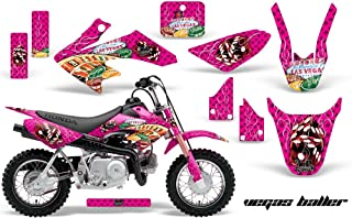 AMR Racing MX Dirt Bike Graphic Kit Sticker Decals Compatible with Honda CRF50 2004-2013 - Vegas Pink