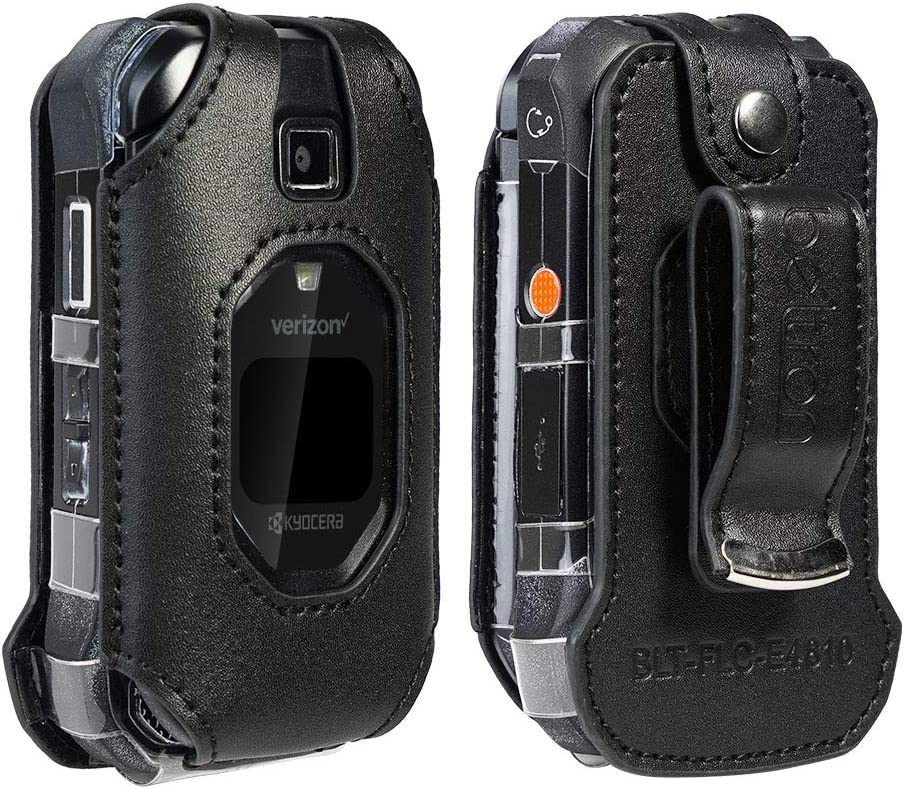 Case for DuraXV Extreme, DuraXE Epic, Premium Leather Fitted Case for Kyocera DuraXV Extreme E4810 Verizon, DuraXE Epic AT&T/FirstNet - Features: Rotating Metal Belt Clip, Screen & Keypad Protection