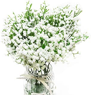 10Pcs Babys Breath Artificial Flowers Fake White Flowers Real Touch Gypsophila Floral in Bulk for Home Wedding Garden Decor (White Long Stem)