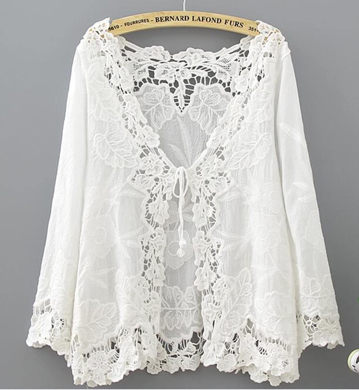 Crochet Lace Kimono Summer Fashion Holiday Lace Up Tops Women Long Sleeve Hollow Out White Blouse Beach Kimono Cardigan