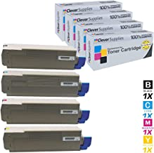 Clever Supplies CS Compatible Toner Cartridge Replacement for Okidata C61044135304 Black 44135303 Cyan 44135302 Magenta 44135301 Yellow Oki C15 C610 C610dn C610n C610cdn C610dtn 4 Color Set