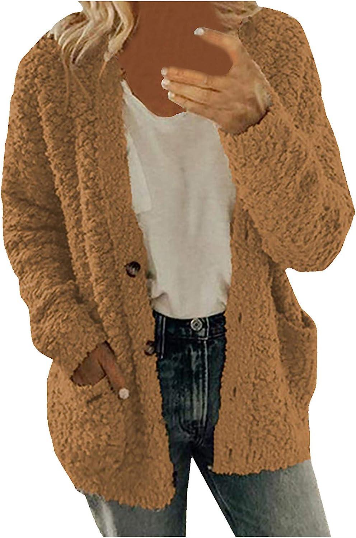 Uppada Women's Plus Size Fuzzy Jackets Button Down Warm Coat Long Sleeve Cozy Casual Soft Winter Cardigan Sweater Outwear
