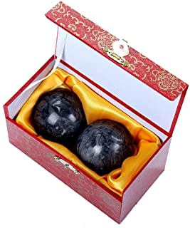 1.4'' Dark Grey Marble Baoding Health Stress Exercise Balls Chinese Exercise Stress Balls Craft Collection (Box-Packed)