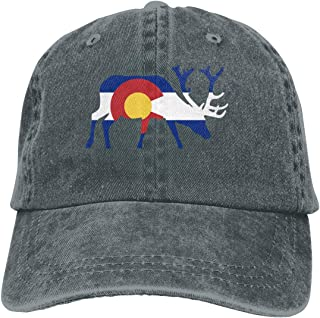 Elk Deer Colorado Flag Cowboy Cap Unisex Adjustable Trucker Baseball Hats Deep Heather