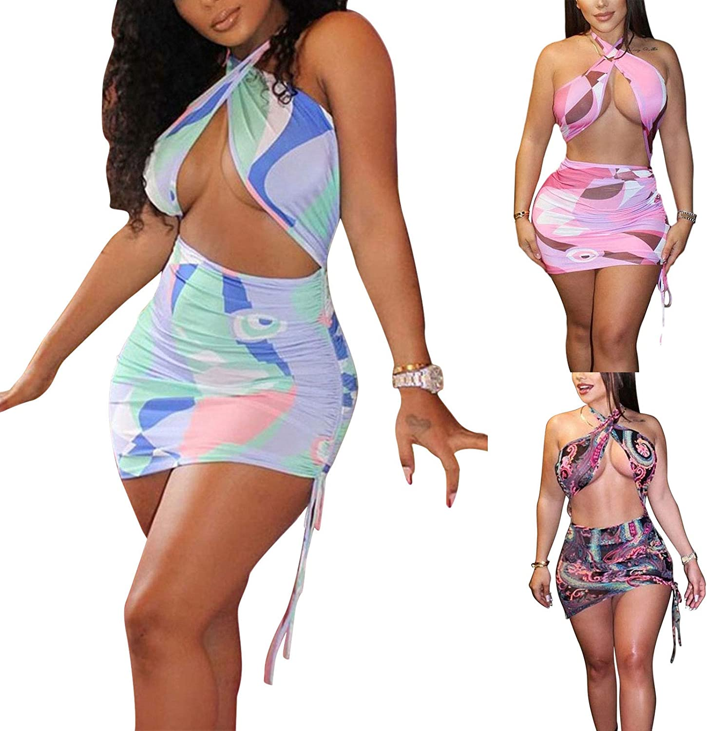 Dresses for Womens Sexy Ruched Bodycon Dress Halter Criss Cross Backless Cut Out Hallow Out Drawstring Club Mini Dress