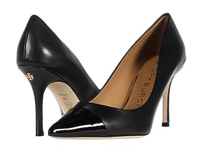 Tory Burch Penelope 85mm Cap Toe Pump (Perfect Black/Perfect Black 1) Women